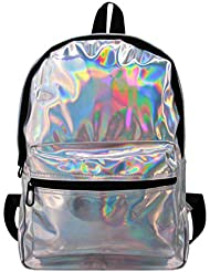 Candice Women Shiny Hologram Holographic PU Leather Shoulder Bag Satchel Big Backpack School Bag