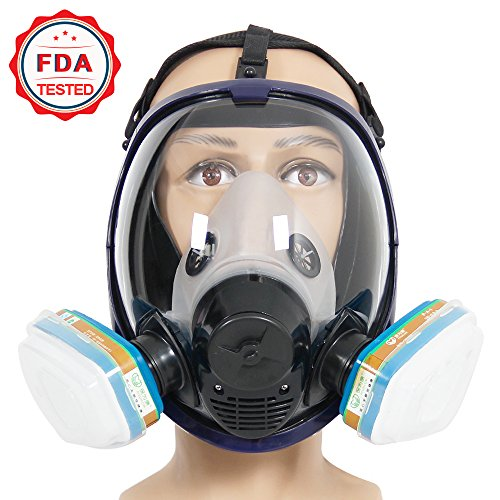 Complete Suit Trudsafe 6800 Painting Spraying Full Face Gas Chemical Mask Respirator, Dust Mask, FDA Tested, Two Kinds of Connectors, Good Tightness, Filters Included by Trudsafe (Image #1)