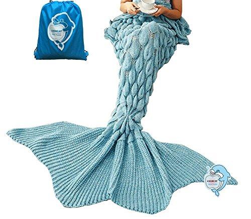 LAGHCAT Mermaid Tail Blanket Knit Crochet and Mermaid Blanket for Adult,Sleeping Bags (71x35.5, goldfish tail-Light Blue)