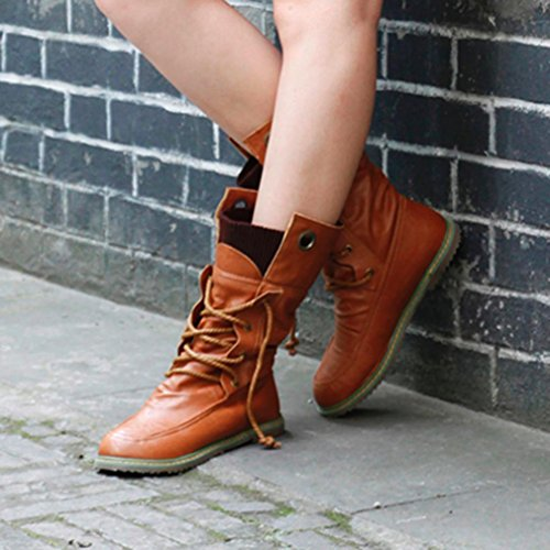 Ladies Coffee Transer® Shoes Style Winter Boots Boots Martain Women Bandage OHaxq1HSn