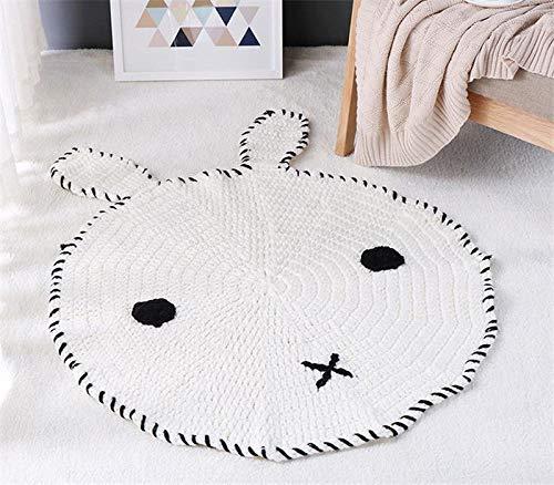 Chuangrong Round Cute Animal Handmade Mat Kids Harmless Knitted Blanket Carpet Soft Rug (Pattern : Rabbit)