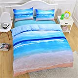 PinkMemory Ocean Beach Theme 3pc Duvet Cover Set,Lightweight Microfiber Duvet Cover Sets with Pillow Shams,Twin/Full/Queen/King Bedding Set-Beach,Queen