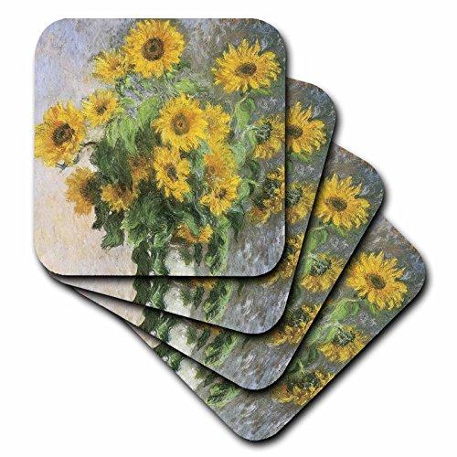 (3dRose Sunflowers Vintage Monet Floral Art - Ceramic Tile Coasters, Set of 4 (cst_178869_3))