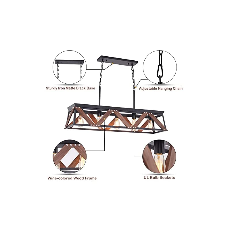 Airposta Farmhouse Rustic Chandelier, 5 Lights Metal Rectangle Dining Room Swag Lighting, Kitchen Island Industrial…