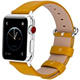 15 Colors for Apple Watch Bands 38mm, Fullmosa Yan Calf Leather Replacement Band/Strap with Stainless Steel Clasp for iWatch Series 0 1 2 3 Sport and Edition Versions 2015 2016 2017,42mm Yellow