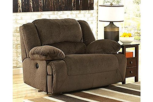 Signature Design by Ashley Toletta Wall Power Wide Recliner - Contemporary Style - Chocolate Contemporary Style Dark Chocolate
