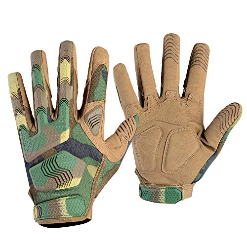AXBXCX Camouflage Woodland Rubber Knuckle Full Finger Tactical Gloves Protection for Riding Driving Motorcycle Cycling ATV Hunting Shooting Airsoft Paintball Military Jungle L