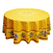 """68"""" Round Lavender Yellow Cotton Coated Provence Tablecloth by Le Cluny"""