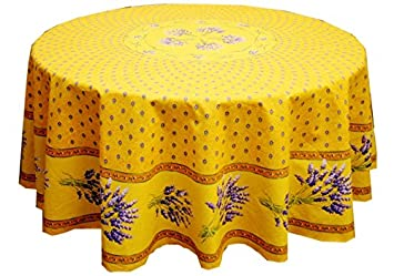 68u0026quot; Round Lavender Yellow Cotton Coated Provence Tablecloth By ...