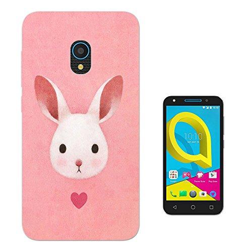 003628 - Kawaii Cute Rabbit Design alcatel U5 3G CASE Gel Silicone All Edges Protection Case Cover