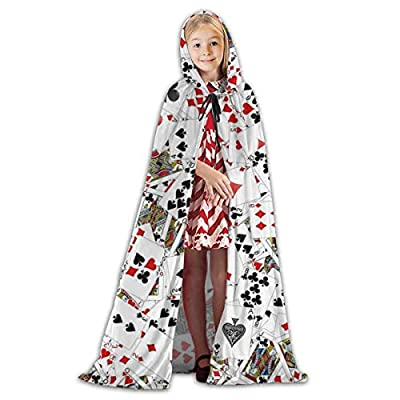 QBahoe Kids Cape Cloak with Hood Playing Poker Cards Unisex Full Length Hooded Robe Cloak Long Cape Cosplay Costume: Clothing