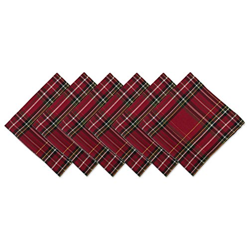 DII CAMZ10906 Oversized 20x20 Metallic Napkins, Perfect for Dinner Parties, Christmas, Holidays, or Everyday use, Pack of 6, Plaid 6 Pack]()