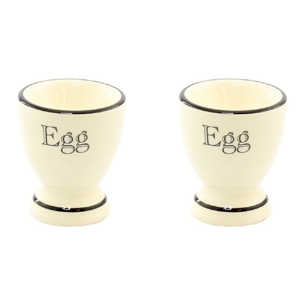 Cottage Kitchen Set of 2 Cream and Black Ceramic Egg Cups