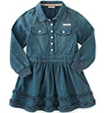 Calvin Klein Baby Girls' Long Sleeve Denim Dress and Panty, Dark Wash, 18 Months