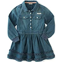 Calvin Klein Baby Girls' Long Sleeve Denim Dress and Panty, Dark Wash, 12 Mon...