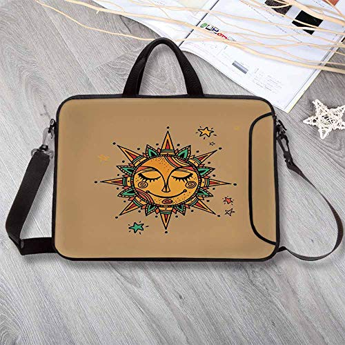 Sun Custom Neoprene Laptop Bag,Hand Drawn Geometric Shapes Triangles Circles Vintage Oriental Ornament Tribal Laptop Bag for Men Women Students,14.6