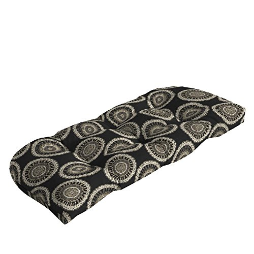 Hampton Bay Black Geo Outdoor Loveseat Cushion