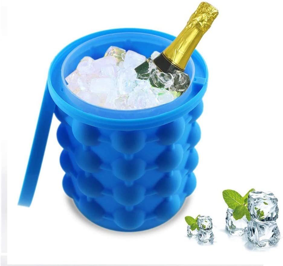 Silicone Ice Bucket, Portable Ice Cube Maker 2 in 1 Reusable Space Saving Ice Bucket Perfect for Indoor/Outdoor Use (Blue)