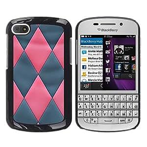 BlackBerry Q10 , JackGot - Impreso colorido protector duro espalda Funda piel de Shell (Modelo de cuero gris del rosa 3D)