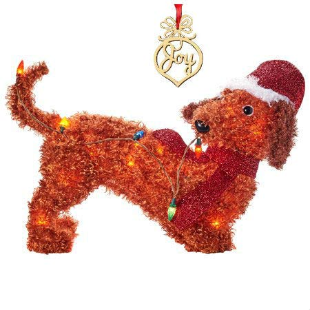 Christmas Dachshund Yard Decoration Light Up LED Fluffy 22 Inch and Christmas Wooden Ornament with Red Ribbon -