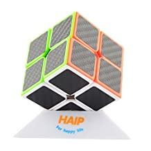 Magic Cube, Haip 2x2x2 Carbon Fiber Sticker Speed Cube Magic Cube Black (Base Holder/Bag Included)