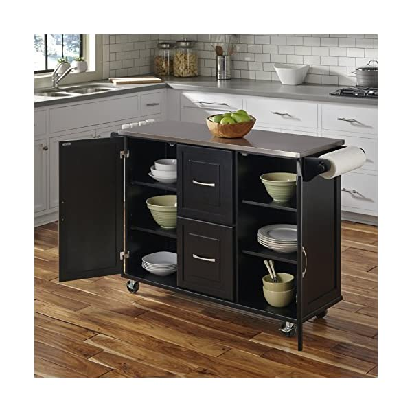 Patriot Black Kitchen Cart with Stainless Steel Top by Home Styles