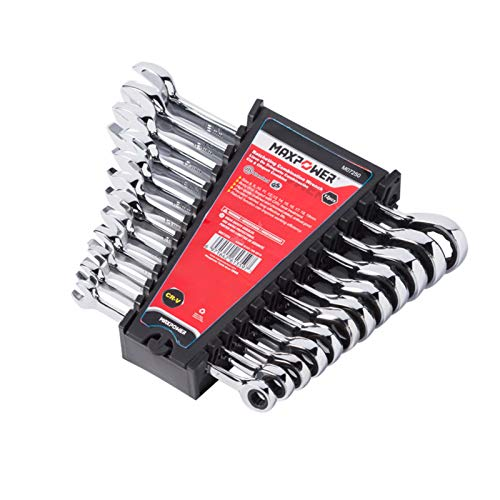 Open End Spanner Set - MAXPOWER 12pc Combination Ratchet Wrench Set - Industrial Grade Open-end Metric Spanner CR-V Wrench Set