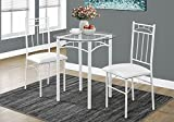 Cheap Monarch Specialties I 1001 Metal/Tempered Glass Dining Set (3 Pieces), 30″ L x 30″ D x 30″ H, White