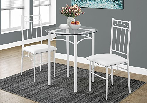 WHITE METAL AND TEMPERED GLASS DINING SET, SET OF 3