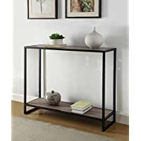 Weathered Grey Oak Finish Black Metal Frame 2-tier Console Sofa Table