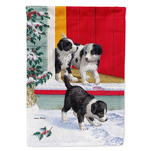Caroline's Treasures ASA2078GF Christmas Border Collie Pups Garden Size Flag, Small, Multicolor