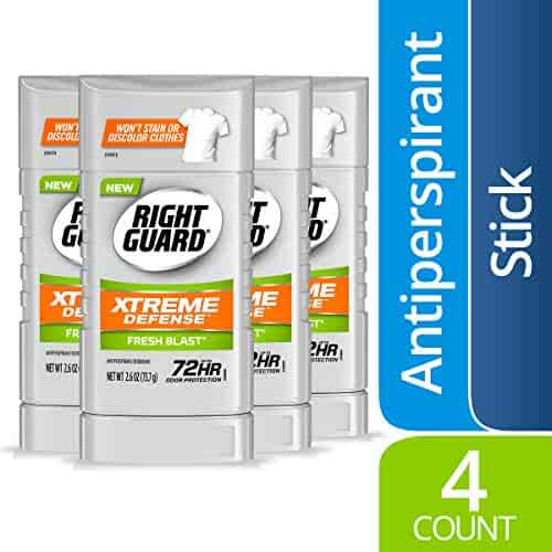 Right Guard Xtreme Defense Antiperspirant Deodorant Invisible Solid Stick, Fresh Blast, 2.6 Ounce (4 Count)