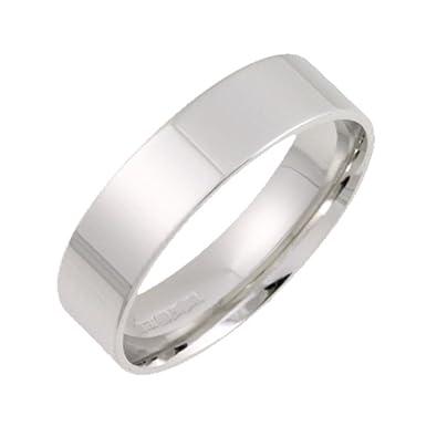 Theia 18 ct ligero de plano con corte forma anillos de boda - 6 mm, oro blanco, talla R: Amazon.es: Joyería