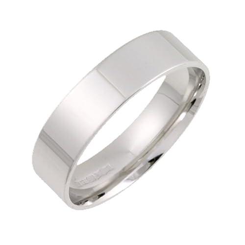Theia 18 ct ligero de plano con corte forma anillos de boda – 6 mm,
