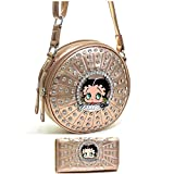 Betty Boop Gold Cylinder rhinestones round Wallet Cross-Body Messenger Bag Set