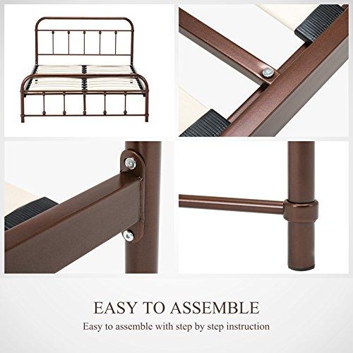 Mecor Bronze Metal Beds Frame Queen Size Platform, with Headboard Footboard,Steel Frame with Wooden Mattress Foundation Slats