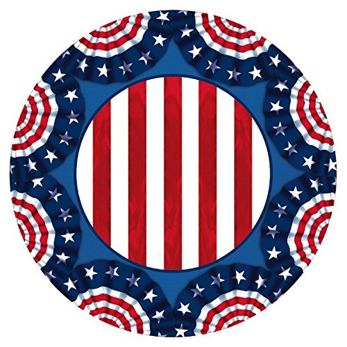 American Pride Dessert Plates Patriotic 4th of July Party Disposable Tableware, Paper, Round, 7