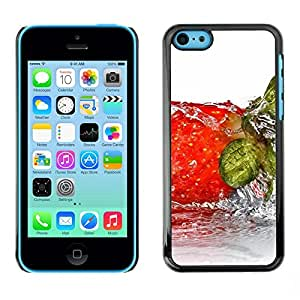 Soft Silicone Rubber Case Hard Cover Protective Accessory Compatible with Apple iPhone 5C - Fruit Wet Strwberry