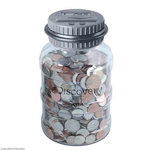 (DISCOVERY KIDS Digital Coin-Counting Money Jar with LCD Screen, Keeps Track of Balance, Twist Off Lid, US Currency, Battery Operated)