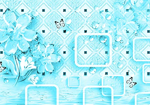 Hell Tile - wandmotiv24 Wall Mural Flowers Bubble Pattern Tiles River Hell b 3D Squares Butterflies Water M4697 S 78.7 x 55.1 inches - 4 Parts Mural - Motif Wallpaper