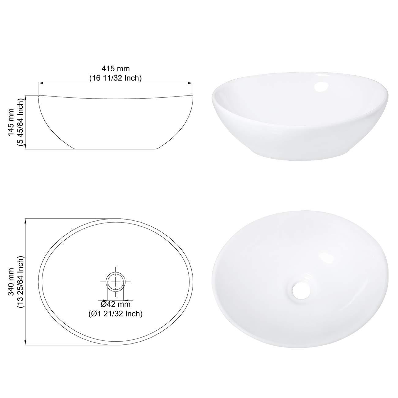 Color Blanco KES BVS124 dise/ño Moderno con Forma de Huevo sobre encimera Fregadero Ovalado de cer/ámica para Lavabo