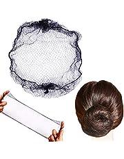 50pcs Hairnets Hair Net for Bun Invisible Elastic Edge Mesh 20inch 50cm (Bulk Packing,Black)