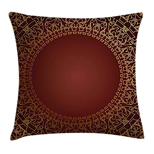 Ambesonne Maroon Throw Pillow Cushion Cover by, Vintage Frame with Gold Colored Eastern Motifs Traditional Retro Classic Artwork, Decorative Square Accent Pillow Case, 18 X 18 Inches, Maroon Gold (Coloured Gold Bedding)