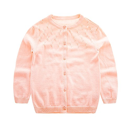 KASULAR Baby Girl Sweaters Pure Color Knitting Patterns Cardigan 1-5Years Spring (18Months, Pink)