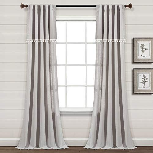 Lush Decor Ivy Tassel Faux Linen Window Curtain Panel Pair