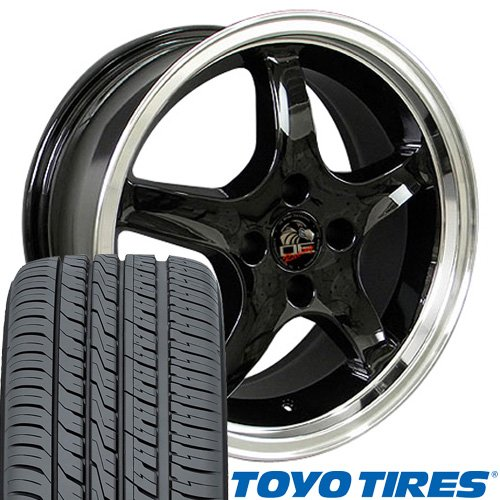 17x8 Wheels & Tires Fit Ford Mustang - Cobra R Style Black Rims w/Mach'd Lip - Toyo Tires -SET