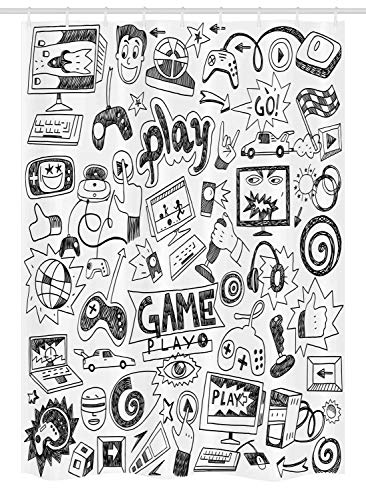 Ambesonne Video Games Stall Shower Curtain, Monochrome Sketch Style Gaming Design Racing Monitor Device Gadget Teen 90's, Fabric Bathroom Decor Set with Hooks, 54 W x 78 L Inches, Black White