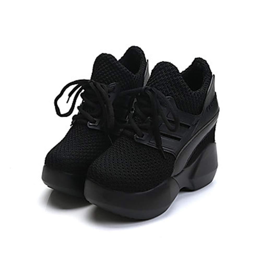 TTSHOES Damen Schuhe PU Runde Frühling Komfort Sportschuhe Plattform Runde PU Zehe Schwarz/Rot Black dc7be9
