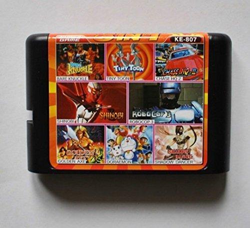 Taka Co 16 Bit Sega MD Game Bare Knuckle/ Tiny Toon/ Chase HQ 2/ Shinobi/ Robocop 3/ Golden Axe/ Doraemon/ Shadow Dancer 16 bit MD Game Card
