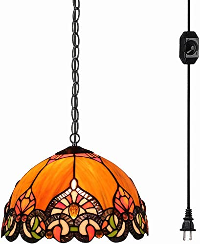 STGLIGHTING Tiffany Baroque Style Glass Lampshade Ceiling Lamp Colorful Chandelier with 20ft Plug-in UL On Off Dimmer Switch Cord for Bedroom Background Wall Dining Room Bulbs Not Included